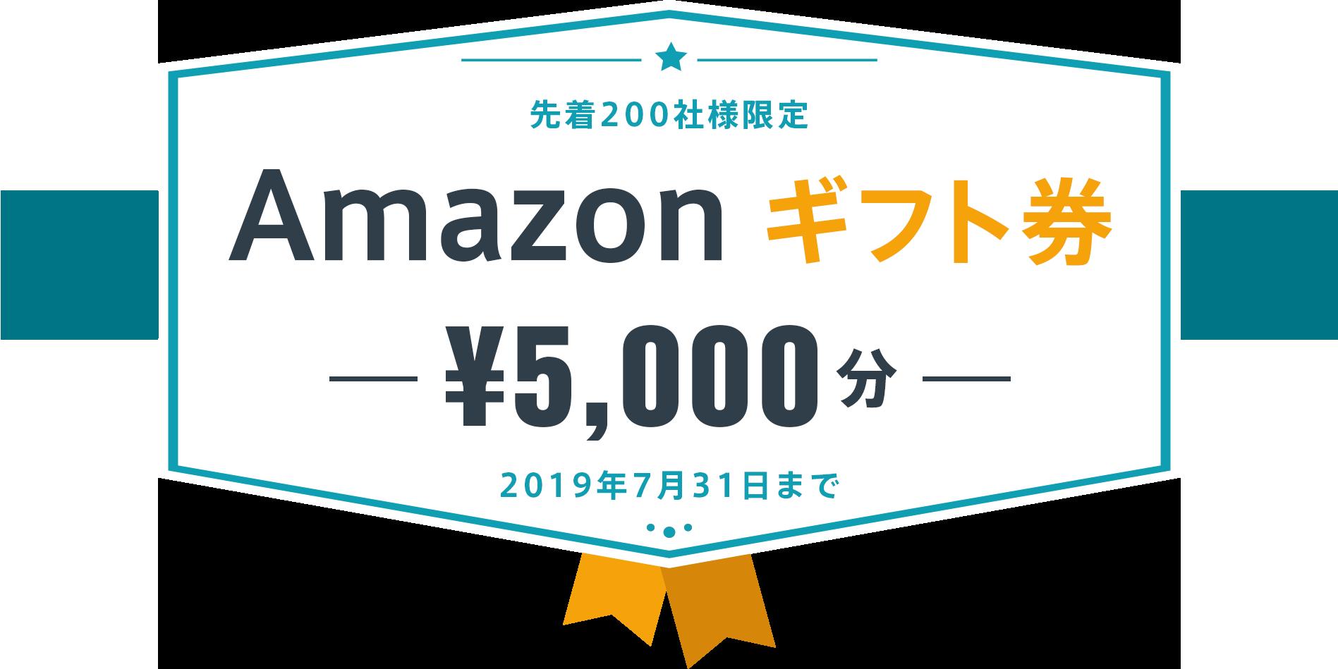 先着200名様限定 Amazon ギフト券 ¥5,000分 2019年7月31日まで